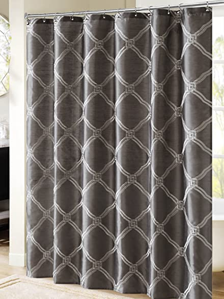 Bombay BM70 939 Teramo Embroidered Shower Curtain 72 X 72quot Charcoal