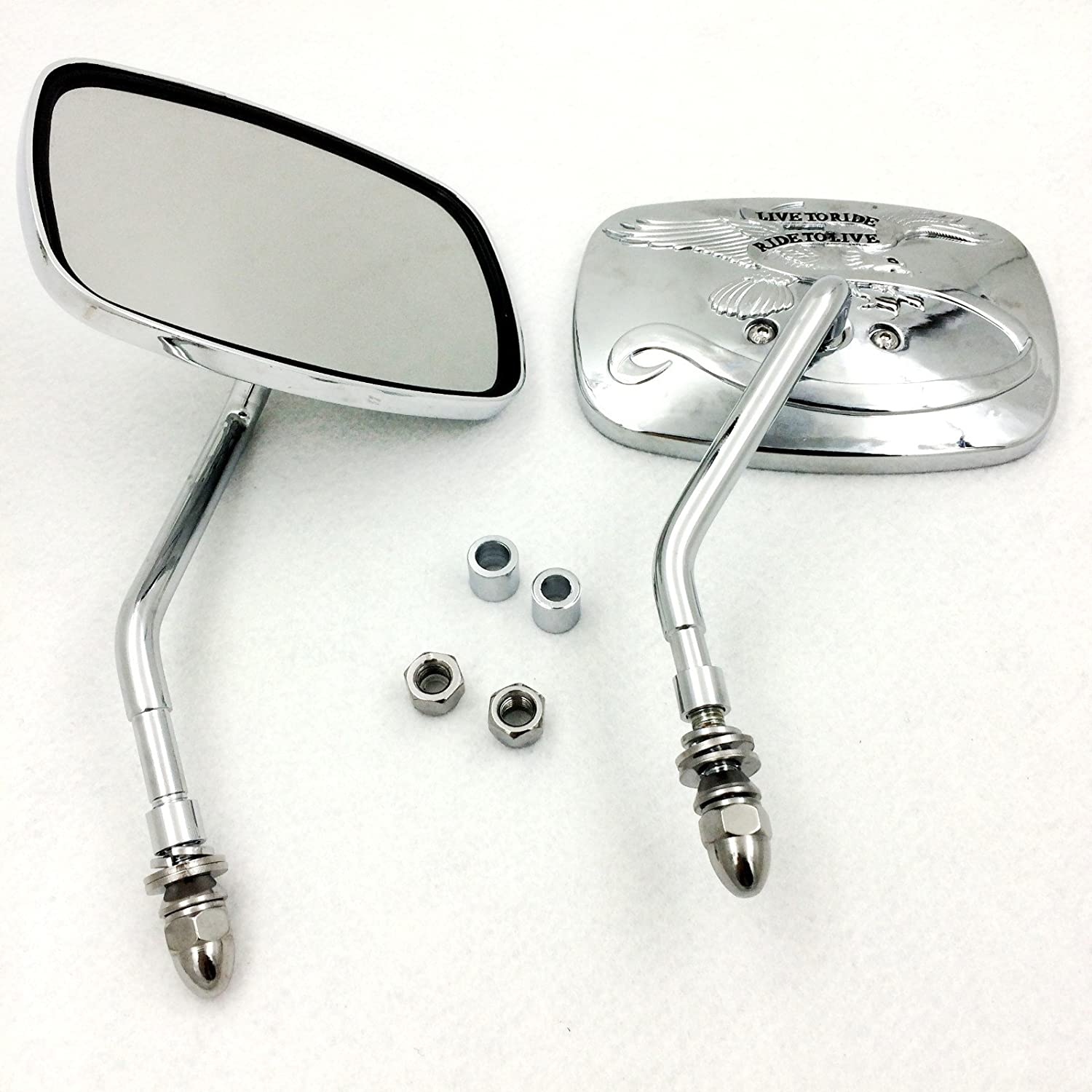 RearView Mirrors For H-D street sports chopper cruiser Eagle Spirit Live to Ride Motorcycle