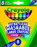 Crayola Washable Crayons, Large, 8 Colors/Box (52-3280)