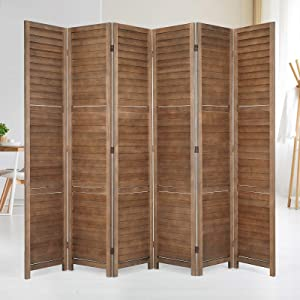 Esright 6 Panel Wood Room Divider, 5.6 Ft Tall Folding Privacy Screen Room Divider, Freestanding Partition Wall Dividers for Office,Bedroom, Brown