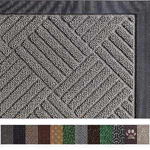 Gorilla Grip Original Durable Rubber Door Mat (35 x 23) Heavy Duty Doormat for Indoor Outdoor, Waterproof, Easy Clean, Low-Profile Rug Mats for Entry, Patio, High Traffic Areas (Black Maze)