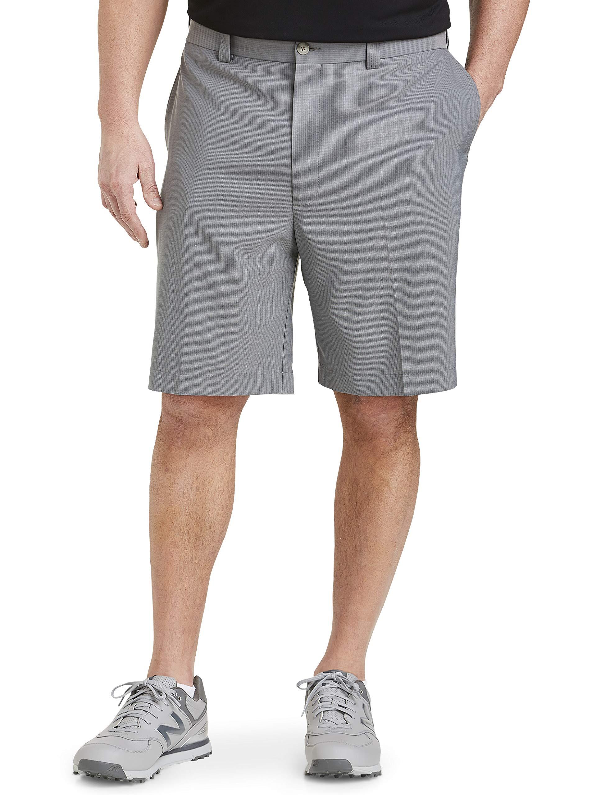 Oak Hill by DXL Big and Tall Waist Relaxer Microfiber Plaid Shorts, Grey Plaid, 46