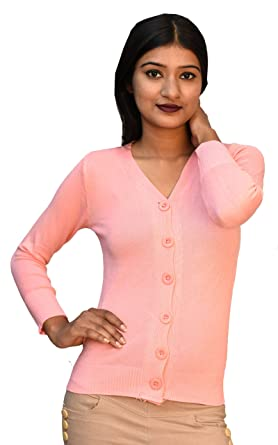 350c58723e9415 Otia 6 Button Woolen Blouse - Light Pink Cardigan for Women Ladies Girls -  Stylish Winter
