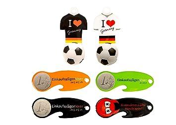 5 Einkaufswagenchip Edelstahl Motiv Fußball schwarz+weiß /& orange+grün+schwarz