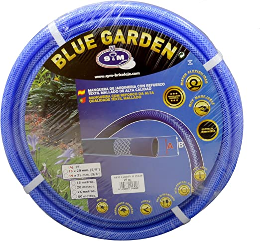 """S&M 553028 Manguera de jardinería Reforzada Blue Garden, Azul, Rollo 25 Metros- 15 x 20 mm- (5/8""""): Amazon.es: Jardín"""