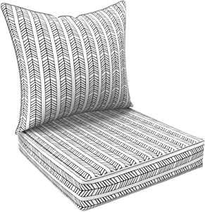 LVTXIII Outdoor/Indoor Deep Seat Cushions, All Weather Deep Seat Chair Cushion Set for Patio Furniture, Herringbone Black White