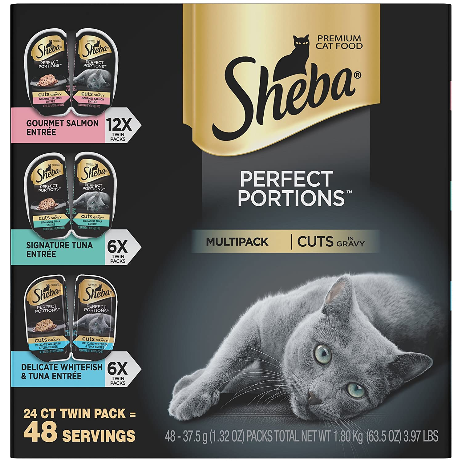 Sheba Perfect Portions Cuts In Gravy Entrée Wet Cat Food   Seafood by Sheba Wet Food