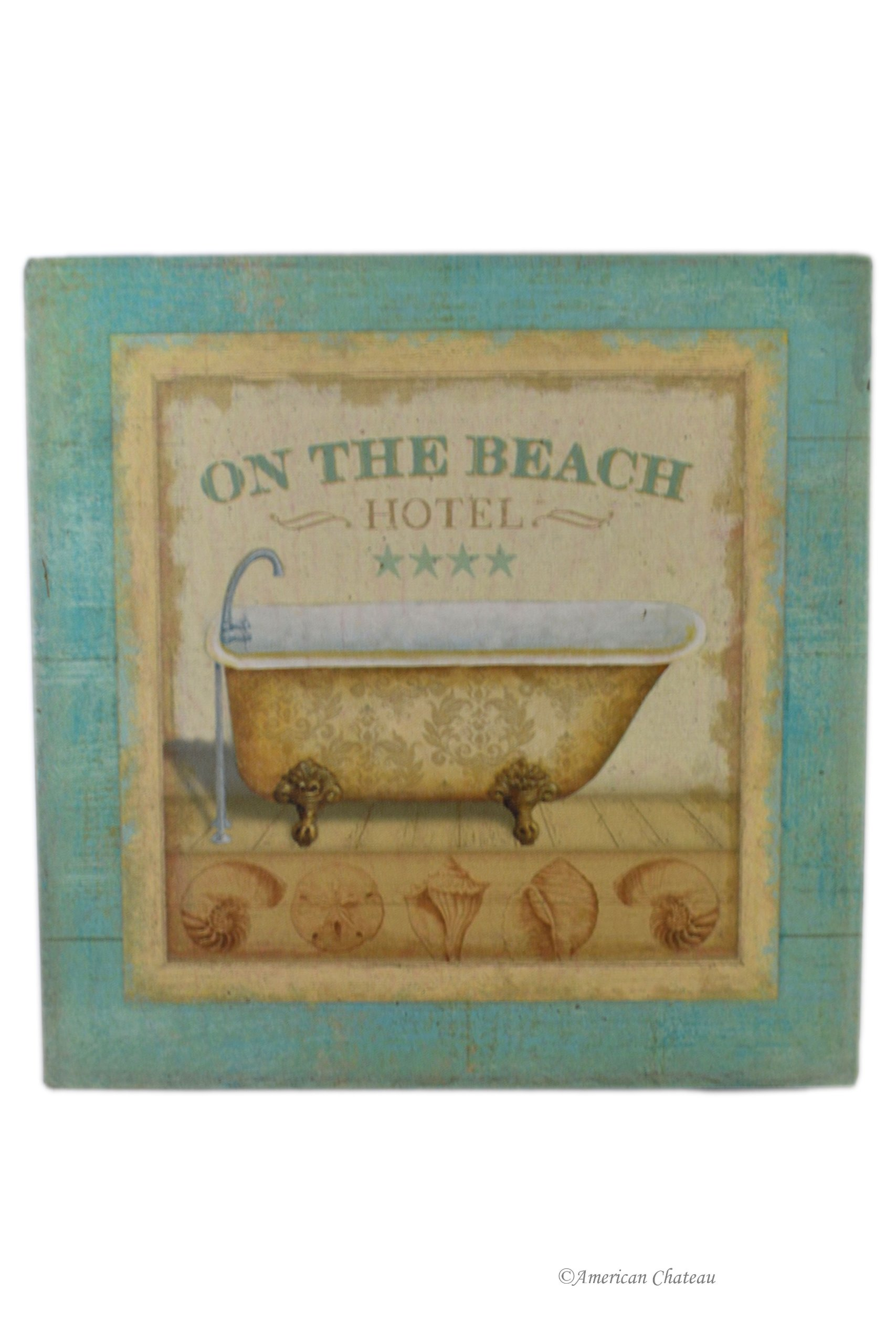 American Chateau Spa Iron Metal Bath Sign Bathroom Hotel On The Beach Wall Door Plaque