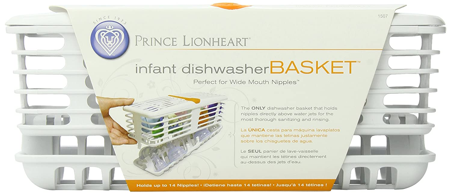 Prince Lionheart 1507 Deluxe Dishwasher Basket, Infant (White/Orange)