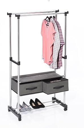 f0953a64b Exhibidor de ropa de doble riel con soporte y cajones de lona: Amazon.es:  Hogar