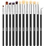 TheFellie Eye Makeup Brushes, Eyeshadow Blending Makeup Brush Set Professional Concealer Eyeliner Eyebrow Cosmetic Brushes ( Black Silver, 12 Pieces )
