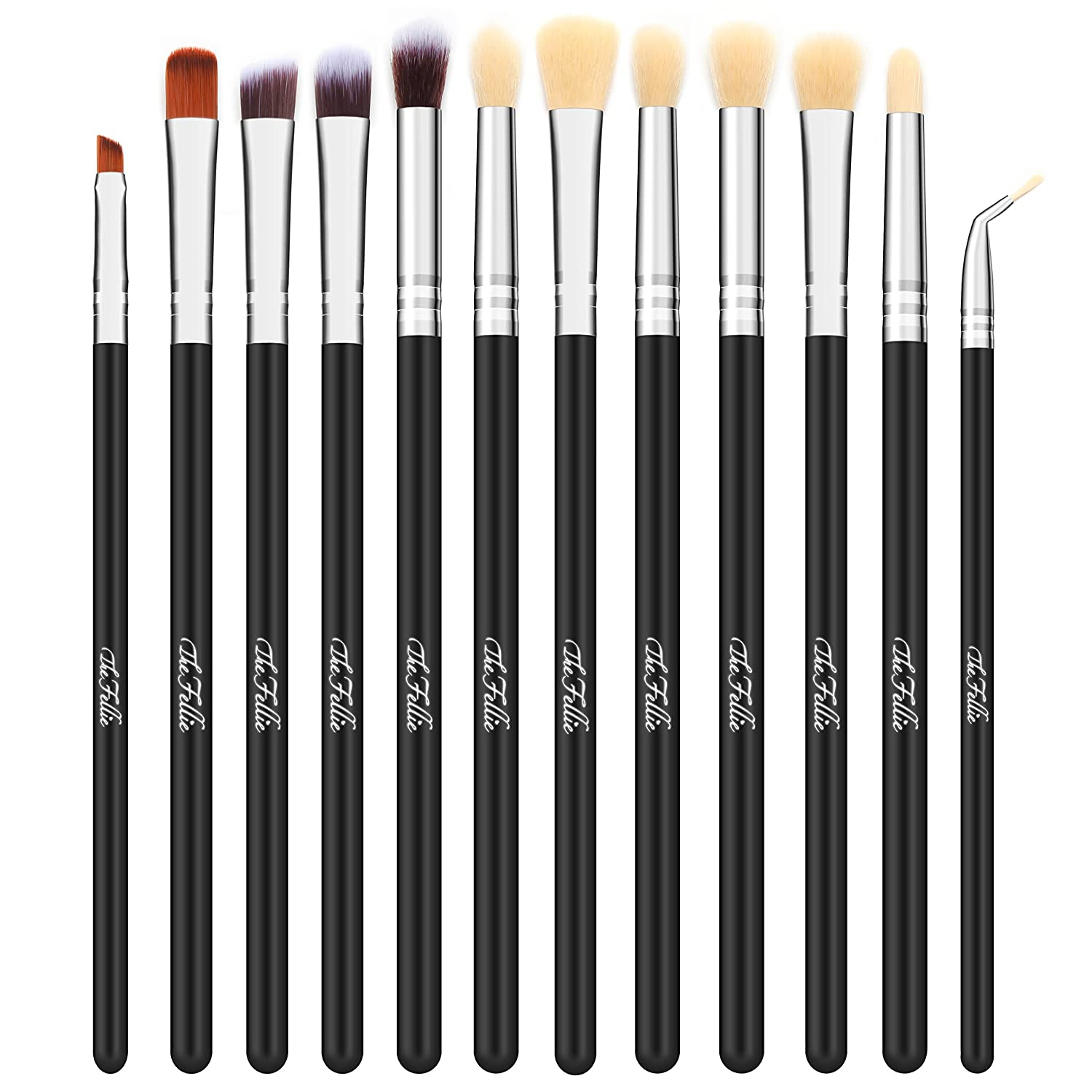 TheFellie Eye Makeup Brushes, Eyeshadow Blending Makeup Brush Set Professional Concealer Eyeliner Eyebrow Cosmetic Brushes ( Black Silver, 12 Pieces )