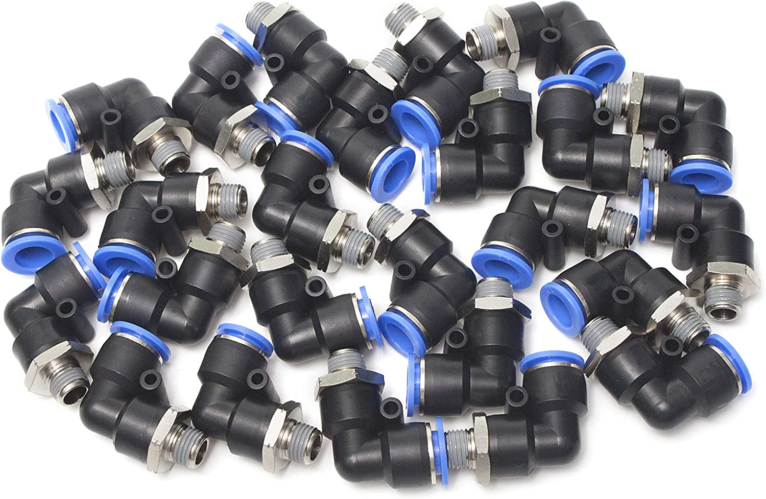 Generic Pneumatic Push in Quick Touch to Connect Fitting 3//8 OD Tube x 1//2 Male NPT 90 Deg Swivel Elbow Coupler Pack of 25