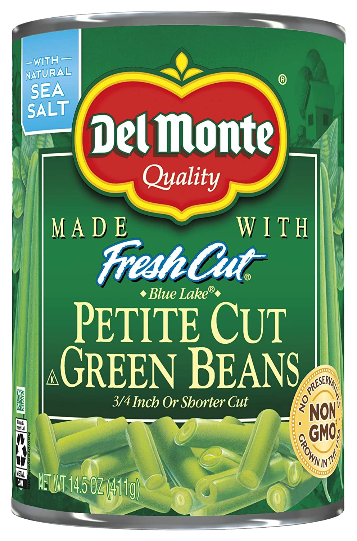 Del Monte Petite Cut Green Beans, 14.5 Oz, (Pack Of 12)