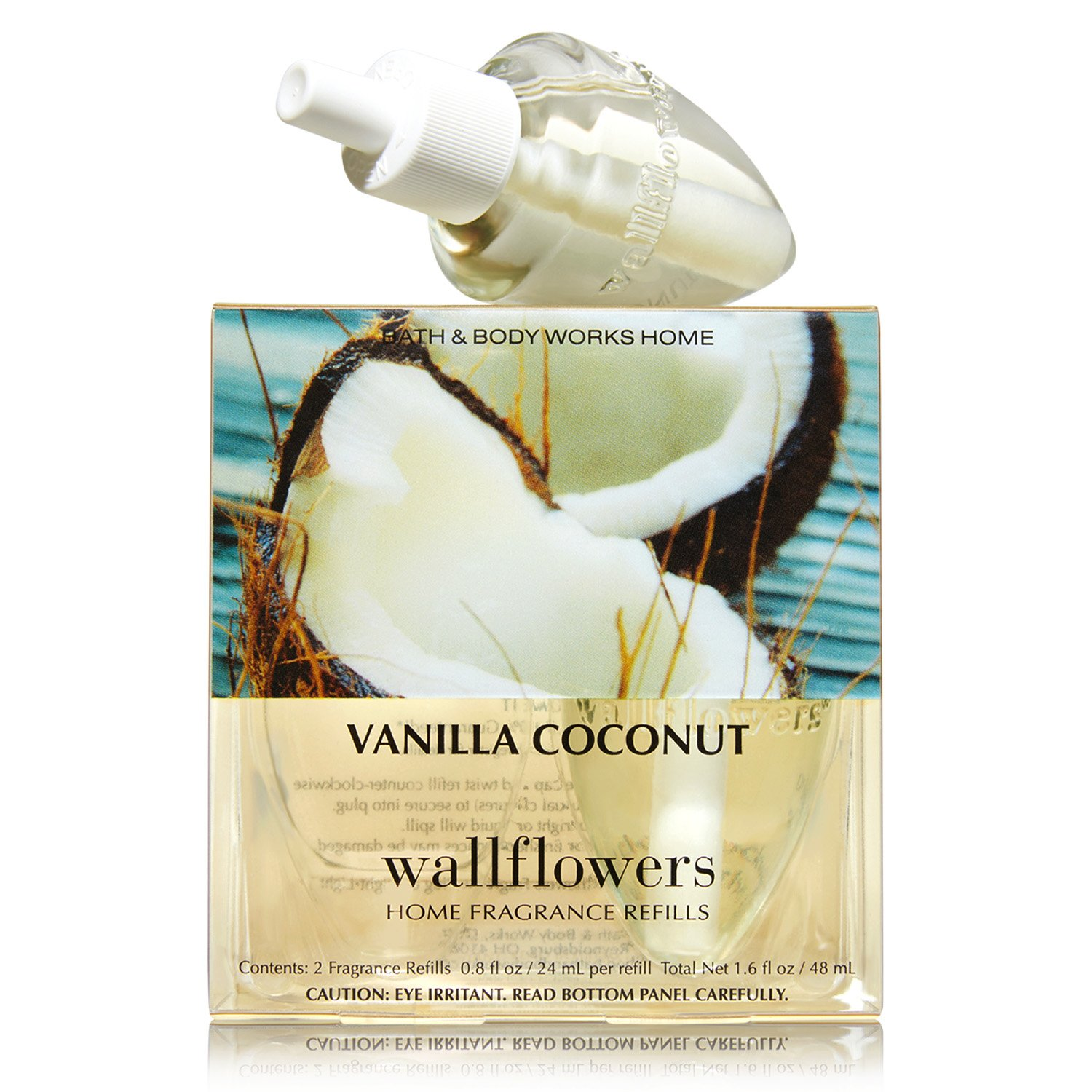Bath & Body Works Vanilla Coconut Wallflowers Home Fragrance Refills, 2-Pack (1.6 fl oz total)
