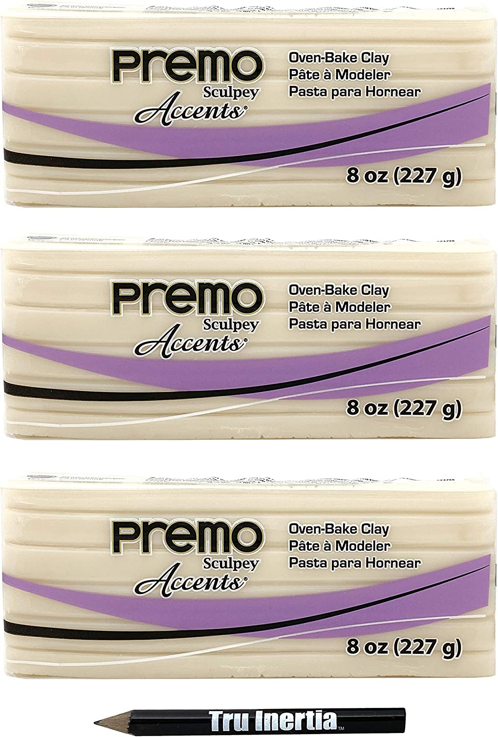 Premo Sculpey Polymer Translucent Clay Oven-Baked Clay 8 Ounce Pack of 3