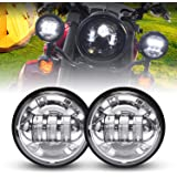 LX-LIGHT Dot approved 2 PCS Chrome 4.5 Inch Cree LED Passing Light LED Fog Lamps for Motorcycles Auxiliary Light Bulb…