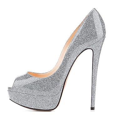 43857db21e101 elashe Escarpins Femme Plateforme - 15CM Escarpins Peep Toe - 3CM Plateforme  Talon Chaussures Open Toe
