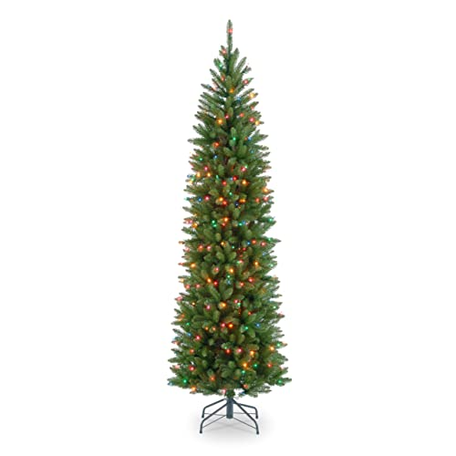 national tree 75 foot kingswood fir pencil tree with 350 multicolor lights hinged kw7