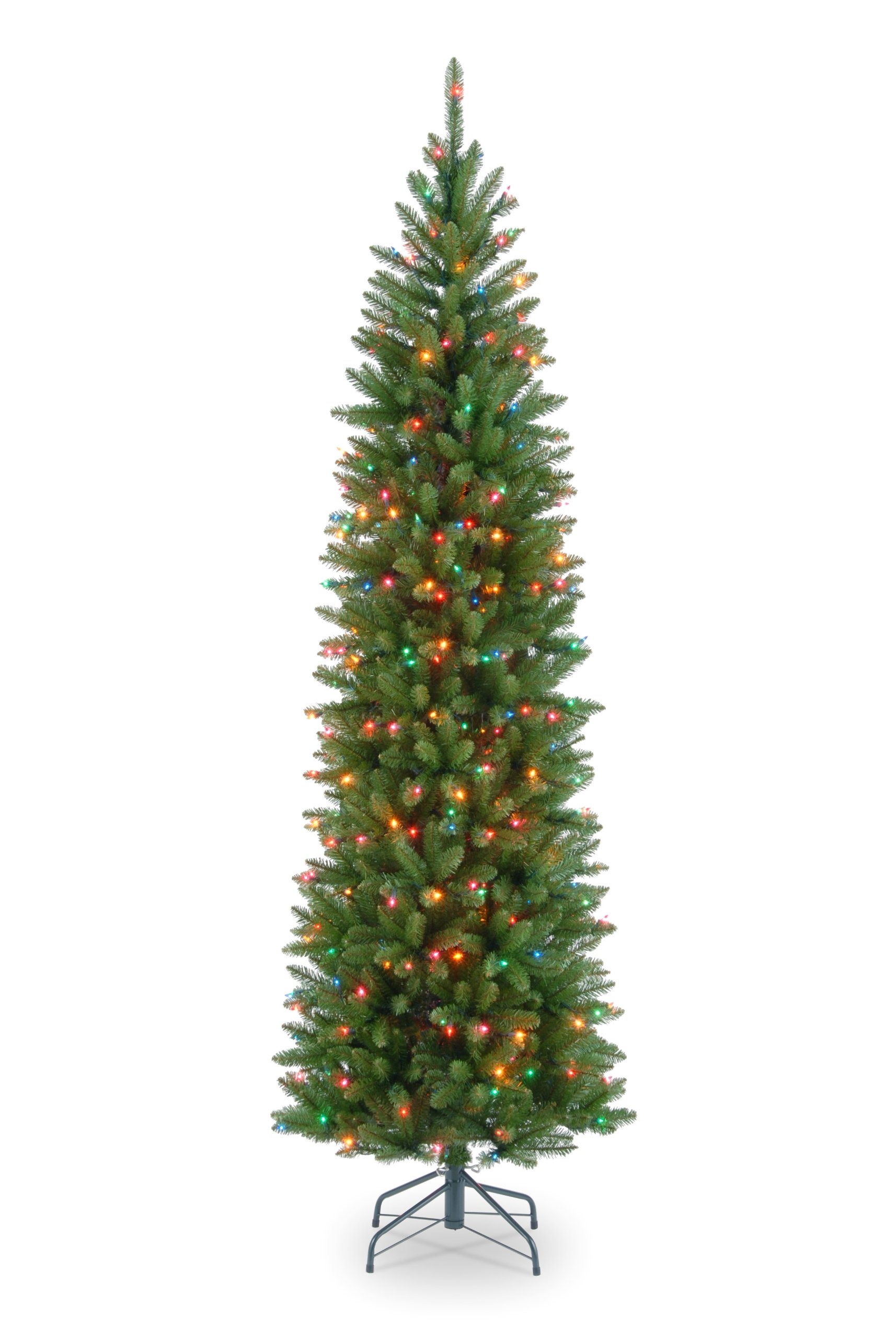 National Tree 7.5 Foot Kingswood Fir Pencil Tree with 350 Multicolor Lights, Hinged (KW7-313-75)