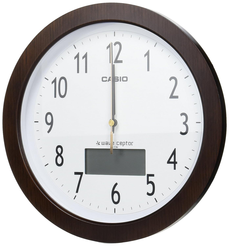 カシオ 木枠電波アナログ掛時計 茶木調 IC-1110J-5JF B00Y9IEZR8 ブラウン ブラウン
