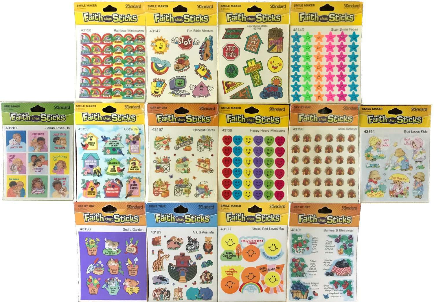 Assorted Christian Stickers for Kids: Awards, Holiday, Jesus Loves, God Loves You, Happy Heart and more