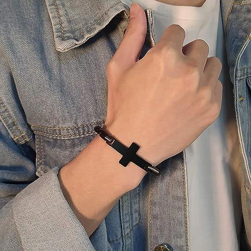 XUANPAI Free-Engraving Unisex Sideways Cross Bracelet Bangle Braided Leather Wristband,Personalized Gift