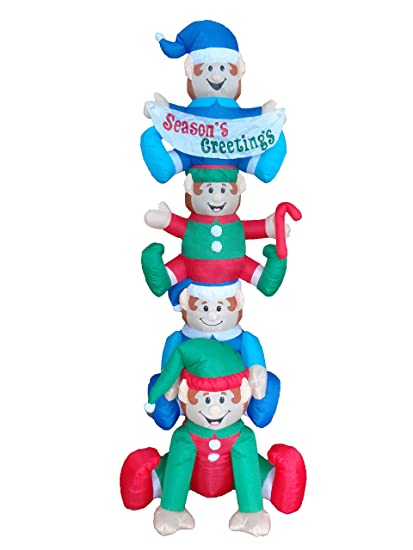 bzb goods 8 foot tall christmas inflatable stacking elves with lights outdoor indoor holiday decorations - Amazon Outdoor Lighted Christmas Decorations
