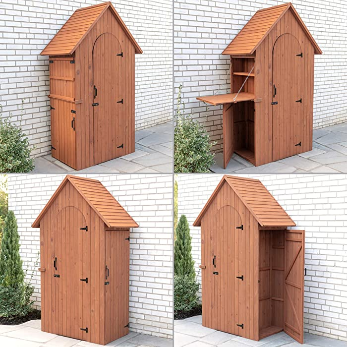Leisure Season MCS3815 Multi Compartment Shed with Drop Table - Brown - Wooden Outdoor Storage for Tools, Accessories - Cabinet Organizer for Garden, Yard, Lawn - Vertical Tool Locker with Shelves