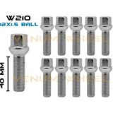 Coyote 10 14x1.5 Chrome Radius Ball Seat Lug Bolts 40mm Shank for Tuner Compatible with BMW VW Audi Mercedes