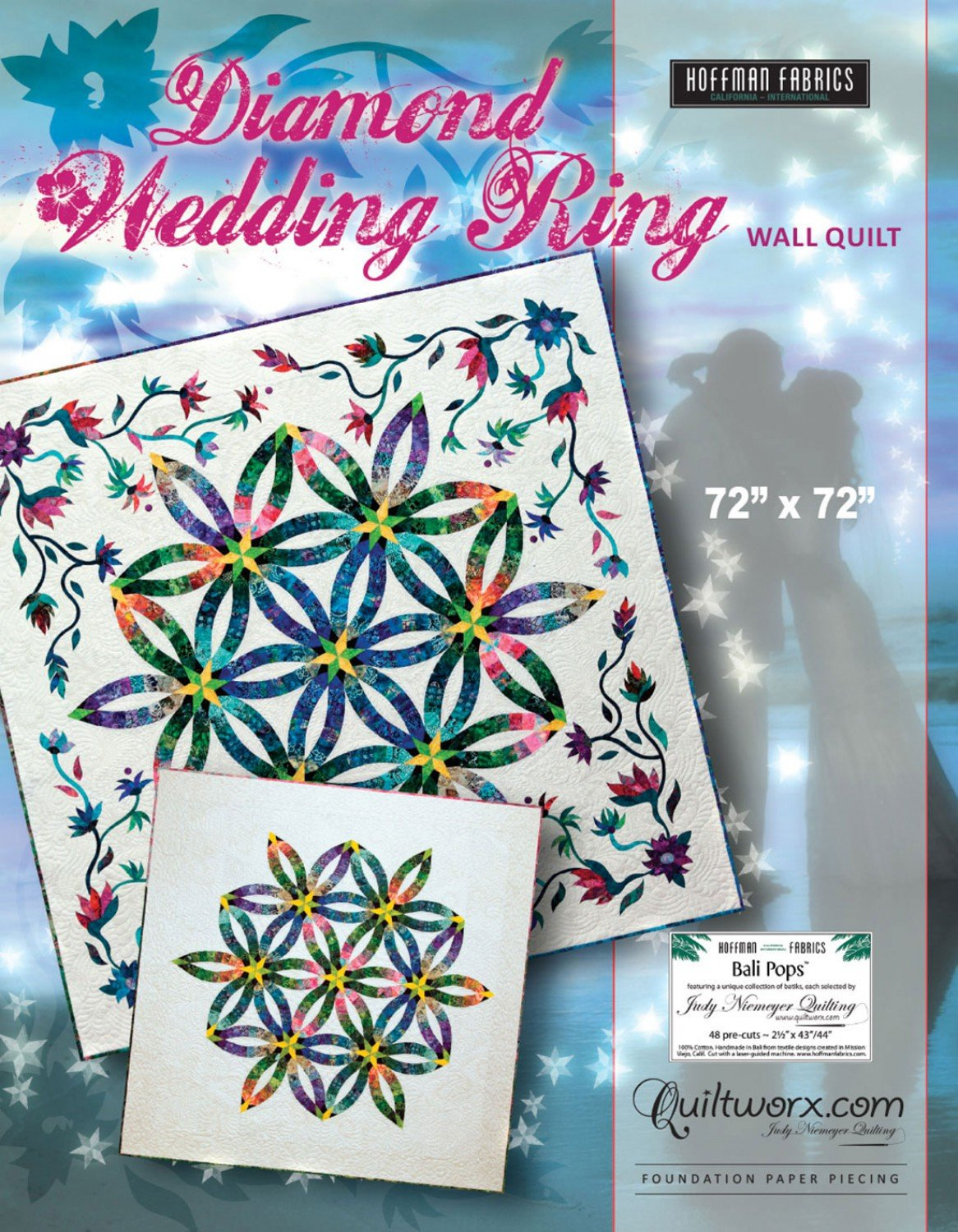 Diamond Wedding Ring Wall Quilt Foundation Paper Pieced 72in x 72in Quilt Pattern by Judy Niemeyer Quilting