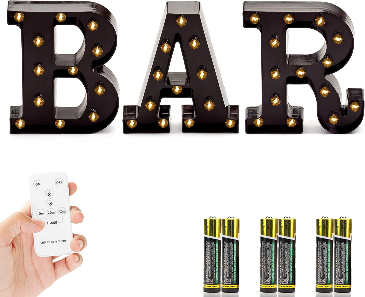 Marquee BAR Sign with Lights – Light Up Black B-A-R Letters for Home Decor or Business Signs – Includes Remote Control and Batteries – LED Lighted Vintage DIY Accessories and Decorations for Bars