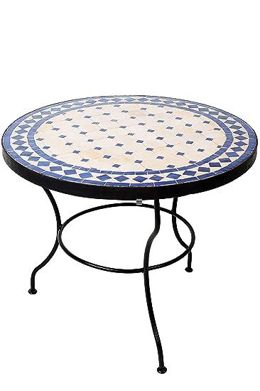 Original Marokkanischer Mosaiktisch Couchtisch ø 60cm Groß Rund | Runder  Kleiner Mosaik Gartentisch Mediterran | Als