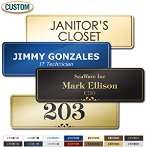 "Customized Personalized Name Plate Laser Engraved, Choice of 15 Colors, 2"" x 8"" Prestige Collection by My Sign Center, 23101B1"