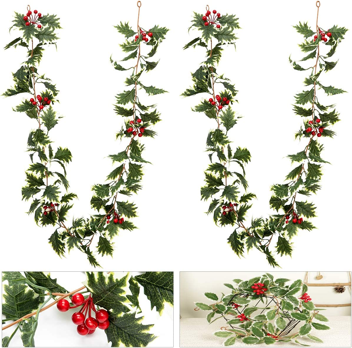 ANPHSIN 2 Pcs 5.6 ft Christmas Red Berry Garland with White-Edged Leaves- Artificial Xmas Red Berry Garland for Home Winter Indoor Outdoor Garden Gate Decoration New Year Holiday Fireplace Decor