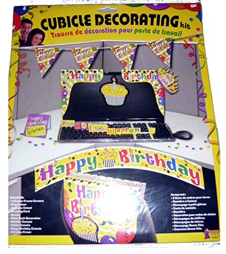 F72463 Yellow Cubicle Birthday Decorating Kit