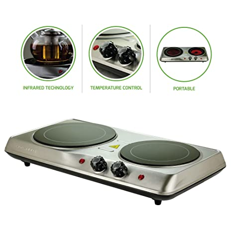 Superieur Ovente Countertop Burner, Infrared Ceramic Glass Double Plate Cooktop,  Indoor And Outdoor Portable Stove