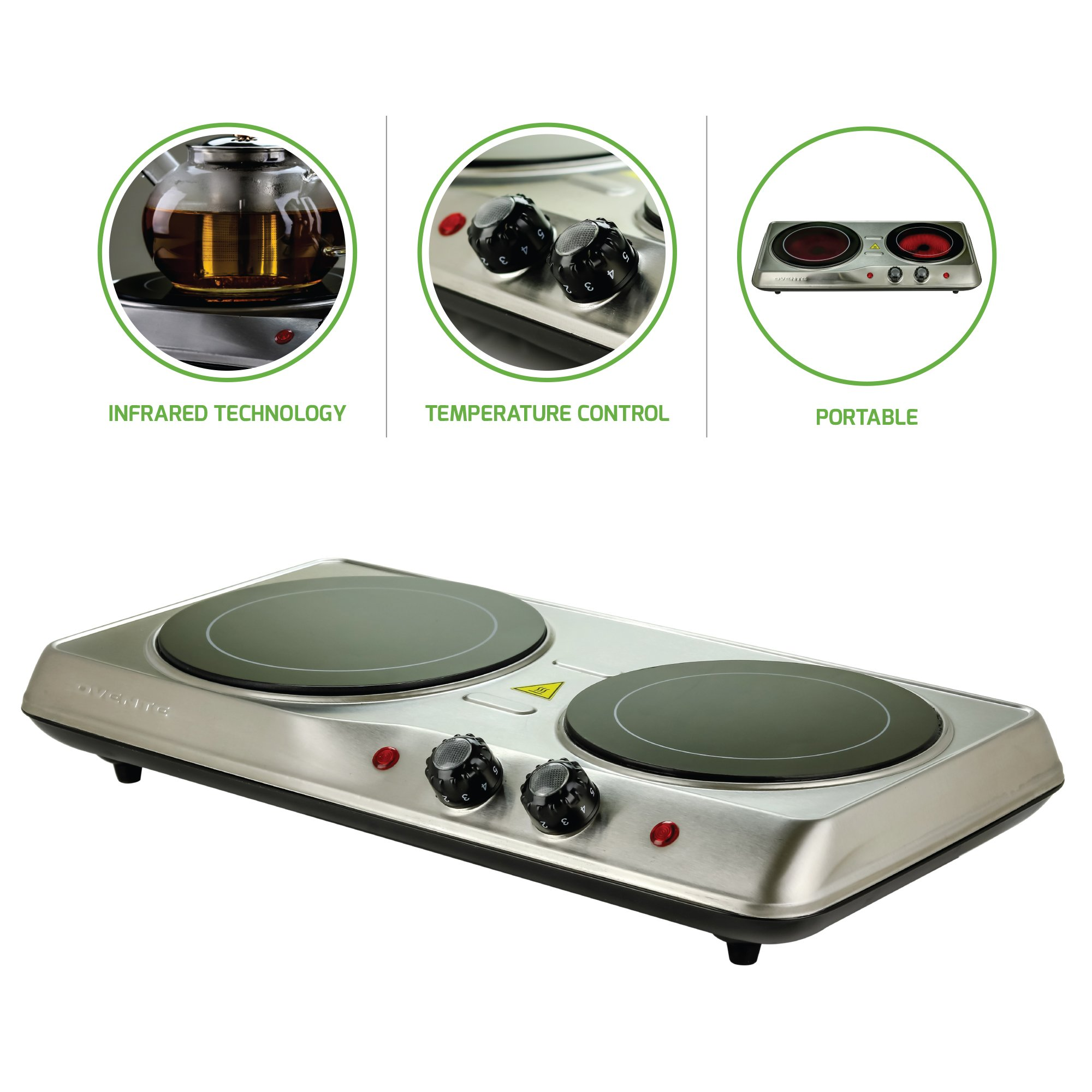Ovente Countertop Burner, Infrared Ceramic Glass Double Plate Cooktop, Indoor and Outdoor Portable Stove, 1700 Watts (BGI102)