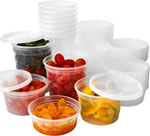 Heavy Duty Plastic Containers with Lids 12 EA Mix of Sizes, 60 Containers Total. Leakproof, Microwavable Portion Cup for To-Go Orders, Food Prep or Storage. Reusable Takeout Cups for Restaurant, Cafe