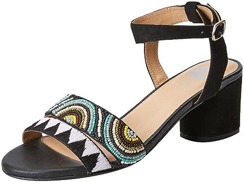 45276, Zapatos de Tacón con Punta Abierta para Mujer, Negro (Black), 39 EU Gioseppo