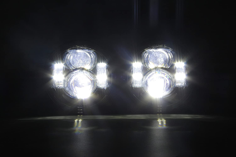 SKUNTUGUANG Phare Avant 5 LED Projecteur Double DRL Feu de Jour pour Harley Dyna Glide Fat Bob 2008-2017(2 Pcs)