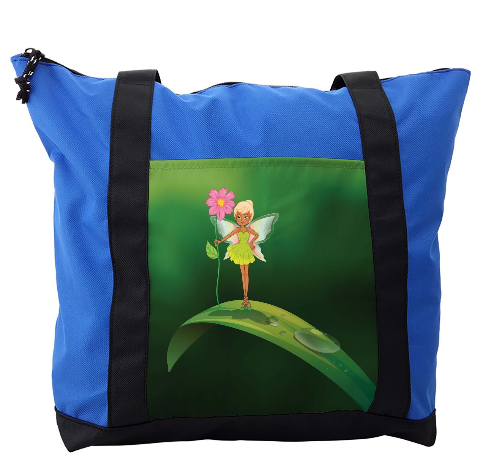 Lunarable Kids Girls Shoulder Bag, Fairy Standing on a Leaf, Durable with Zipper