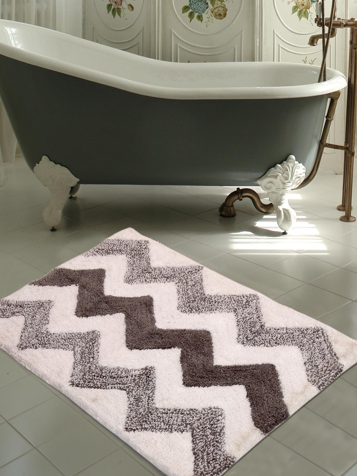 WARISI - Tonal Chevron Collection - Designer, Plush microfiber Bath Rug, 34 x 21 inches (Grey White)