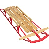 Best Choice Products Wood Snow Sled Toboggan Sledge For Ski Snowboard Outdoor Sport