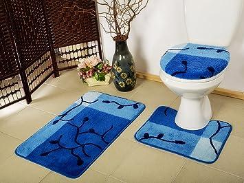 3 teilig badset badgarnitur badematten badteppich stand wc blau n77