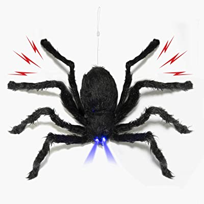 Prextex Animated Dropping Huge Black Hairy Spider/Tarantula with LED Eyes for Halloween Haunt Décor Best Halloween Decoration: Toys & Games