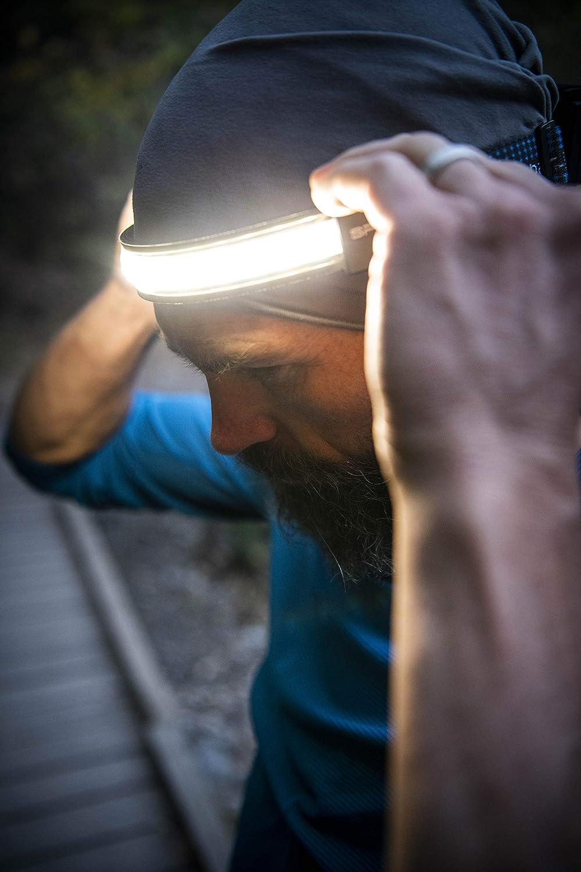 W//Spotlight LIGHTBAR Sport LED Headlamp 300 Lumens Camping Running Biking Fishing Construction Waterproof Rated Rechargeable Battery