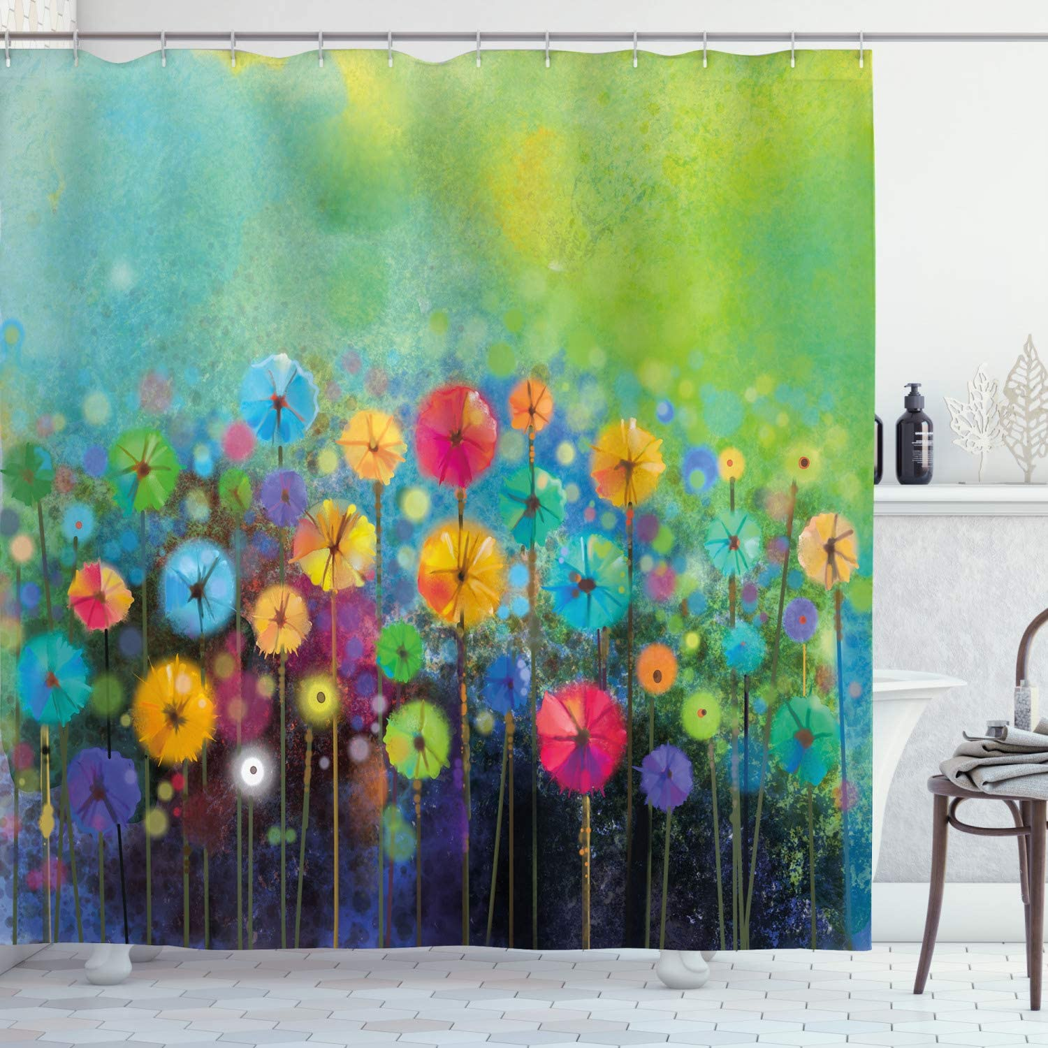 Ambesonne Flower Shower Curtain, Dandelions Featured in Garden with Brushstrokes Watercolored Abstract Landscape Art, Cloth Fabric Bathroom Decor Set with Hooks, 70