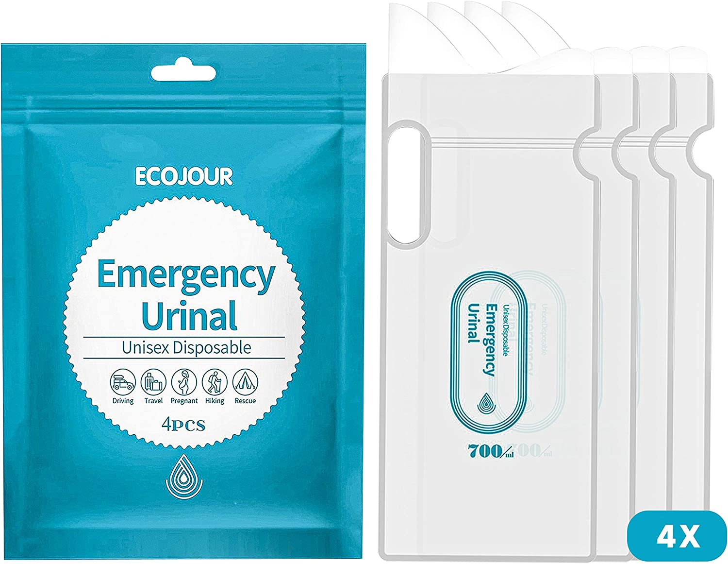 4x Portable Disposable Urinal Urine Wee Toilet Bags Camping Car Emergency 700ML