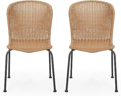 Amazon Com Christopher Knight Home 311696 Dinah Outdoor Wicker Dining Chair Set Of 2 Light Brown Black Garden Outdoor